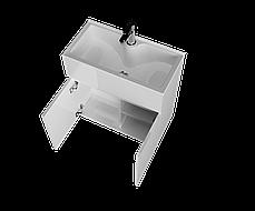 Тумба с раковиной Mira 60 см 2Д.. подвесная (2 дверки). Белый глянец, фото 2