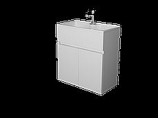 Тумба с раковиной Mira 60 см 2Д.. подвесная (2 дверки). Белый глянец, фото 3