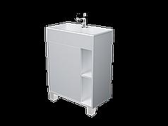 Тумба с раковиной Lido 60 см 1Д.. напольная (1 дверка). Белый глянец