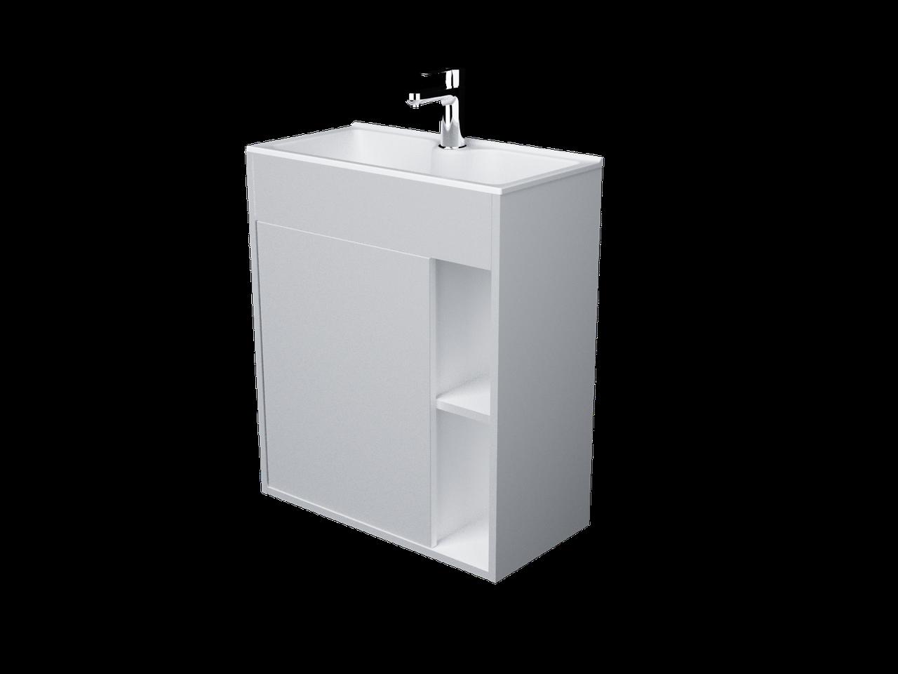 Тумба с раковиной Lido 60 см 1Д.. подвесная (1 дверка). Белый глянец