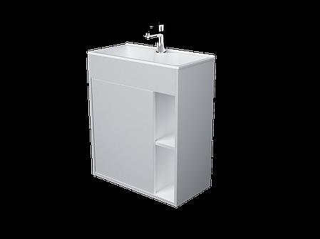 Тумба с раковиной Lido 60 см 1Д.. подвесная (1 дверка). Белый глянец, фото 2