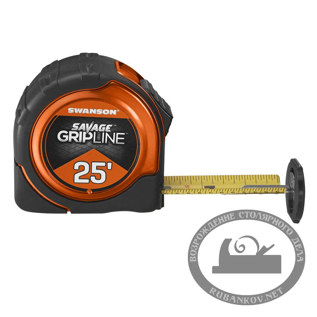 Рулетка с дюймовой разметкой Swanson Savage GripLine 25'