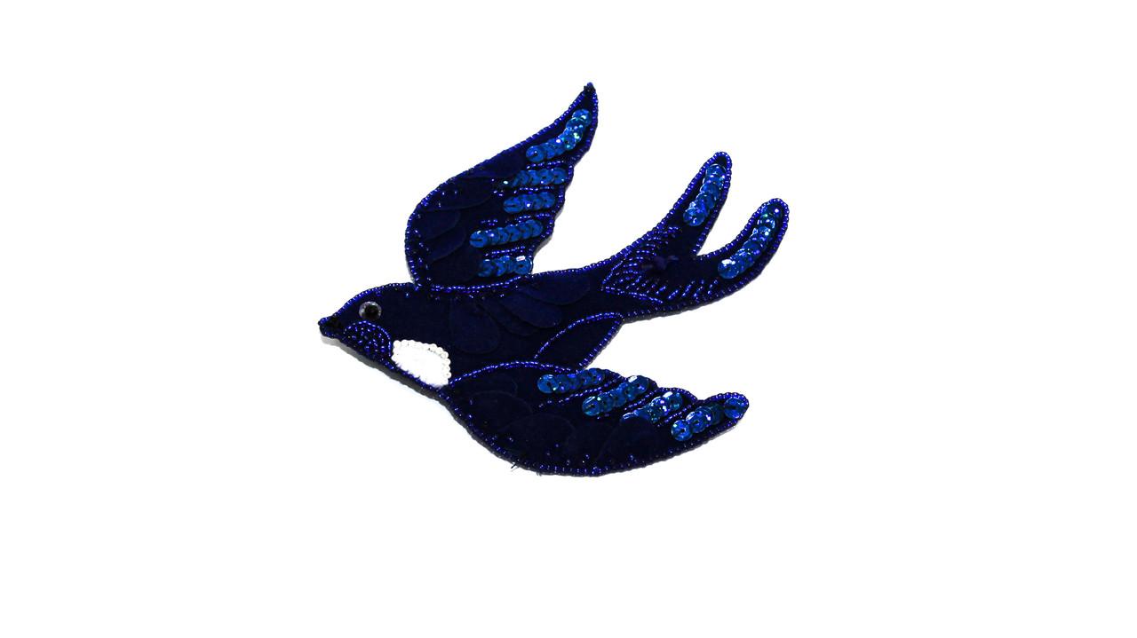 Брошь  Brosh Jewellery  ручной работы пайетка+бисер  (синий)