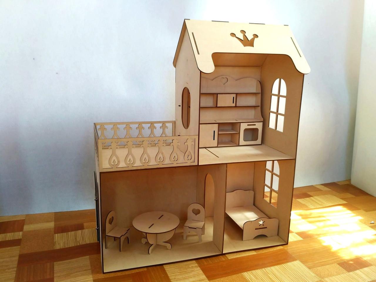Кукольный эко домик (в комплекте 5 предметов мебели)