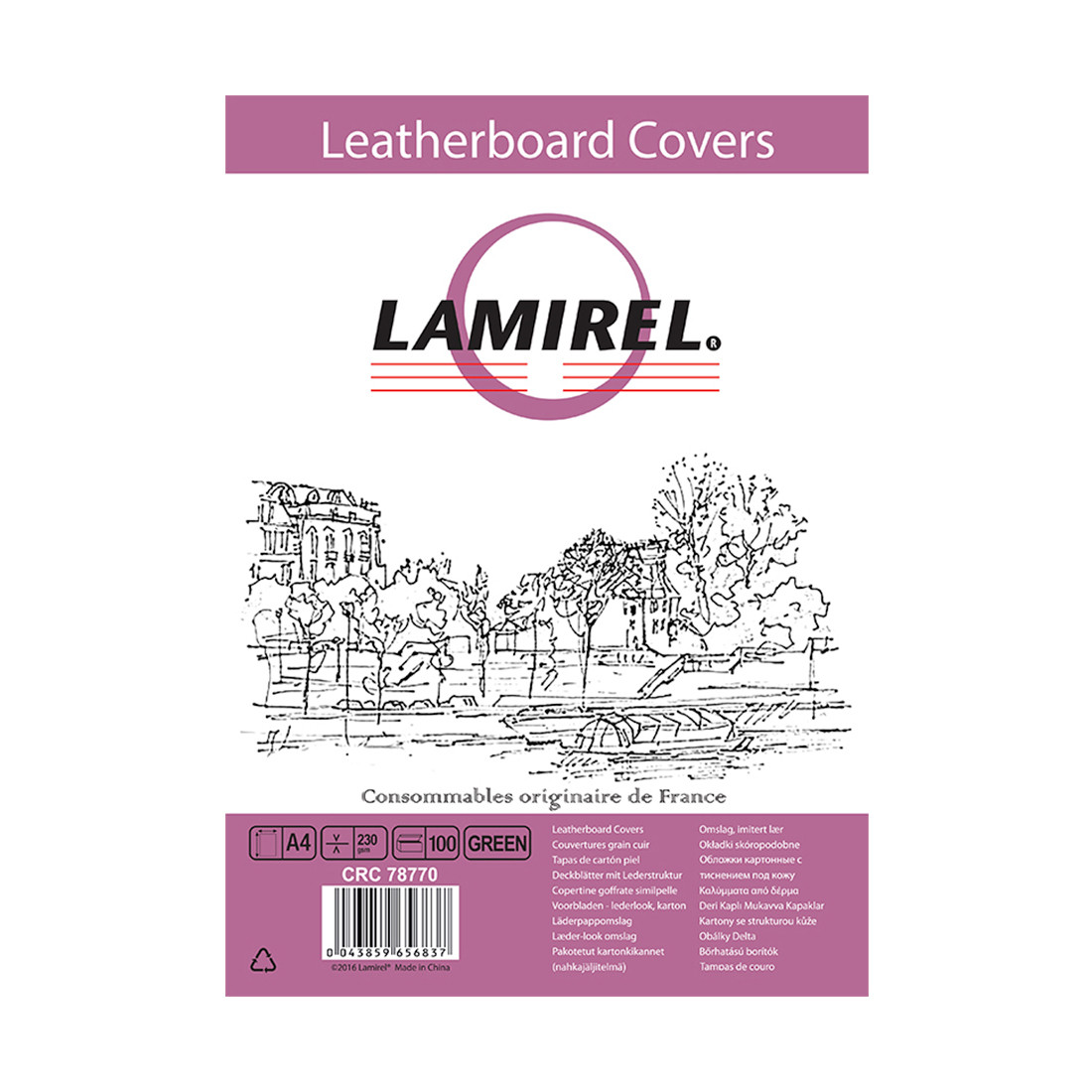 Обложки  картонные с тиснением под кожу Lamirel LA-78770 Delta (A4, Зеленый, 100шт)