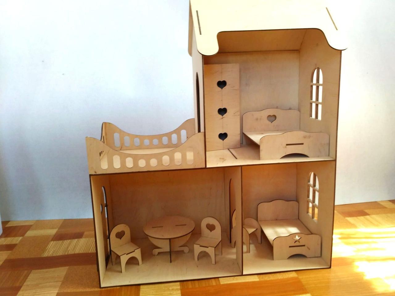 Кукольный эко домик (в комплекте 7 предметов мебели)