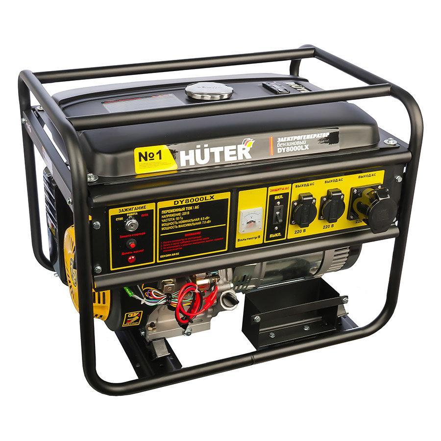 Портативный бензогенератор HUTER DY8000LX, Мощность 6500 Вт