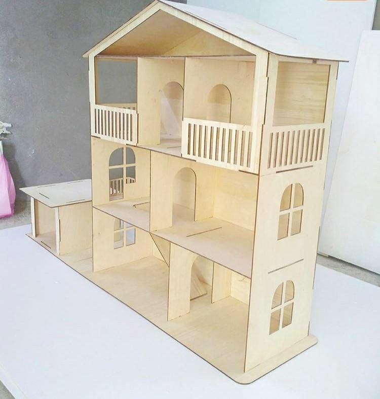 Большой кукольный эко домик с гаражом