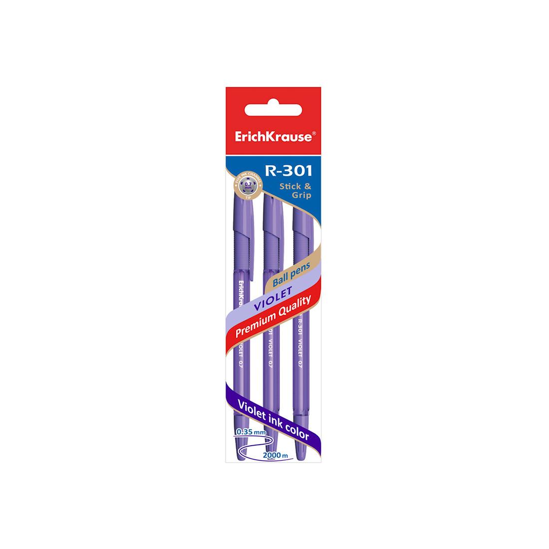 Пакет ручек шариковых ErichKrause R-301 Violet Stick&Grip (Фиолетовый)