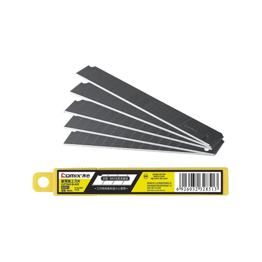 Лезвия для канцелярских ножей Comix (9 мм., 10 лезвий, Стальные)