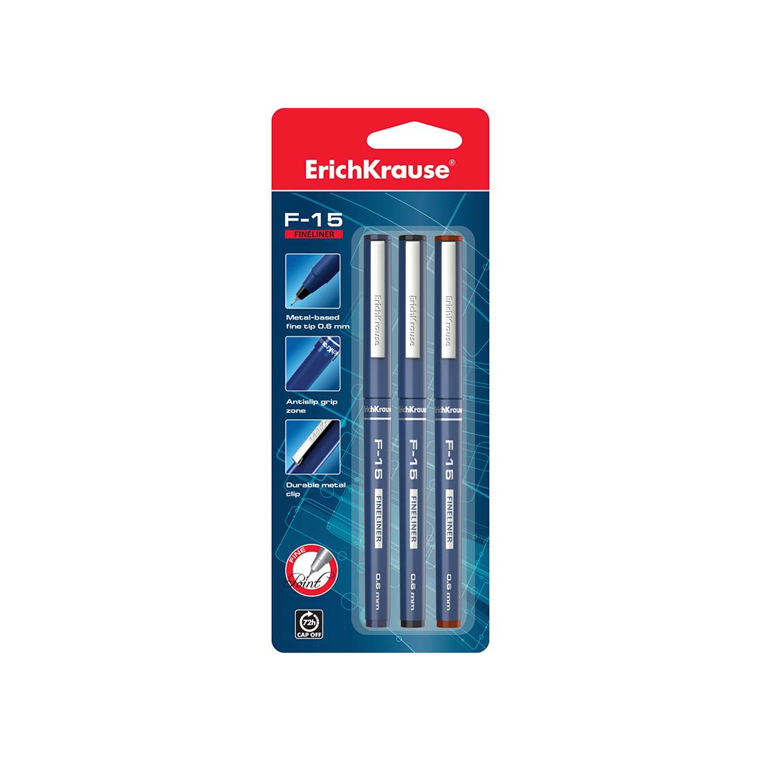 Блистер ручек капиллярных ErichKrause F-15 (Синий, черный, красный)