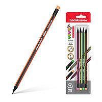 Блистер чернографитных трехгранных карандашей с ластиком ErichKrause VIVO HB (4 шт.)