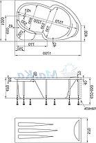 Акриловая ванна Диана  (160*100)(Правая) (Полный комплект) Ассиметричная. Угловая, фото 2