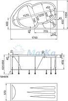 Акриловая ванна Диана  (160*100)(Левая) (Полный комплект) Ассиметричная. Угловая, фото 2
