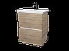 Тумба с раковиной Aris 70 см. подвесная (2 ящика). Дуб сонома