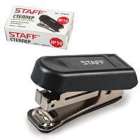Степлер STAFF, №10, мини, до 7 листов, пластик. корпус, метал. механизм, встроенный антистеплер, черный 224624