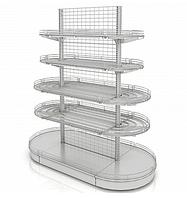 Островной металлический торговый стеллаж (2030х1070х2250 мм) сетка арт. СС-25/1