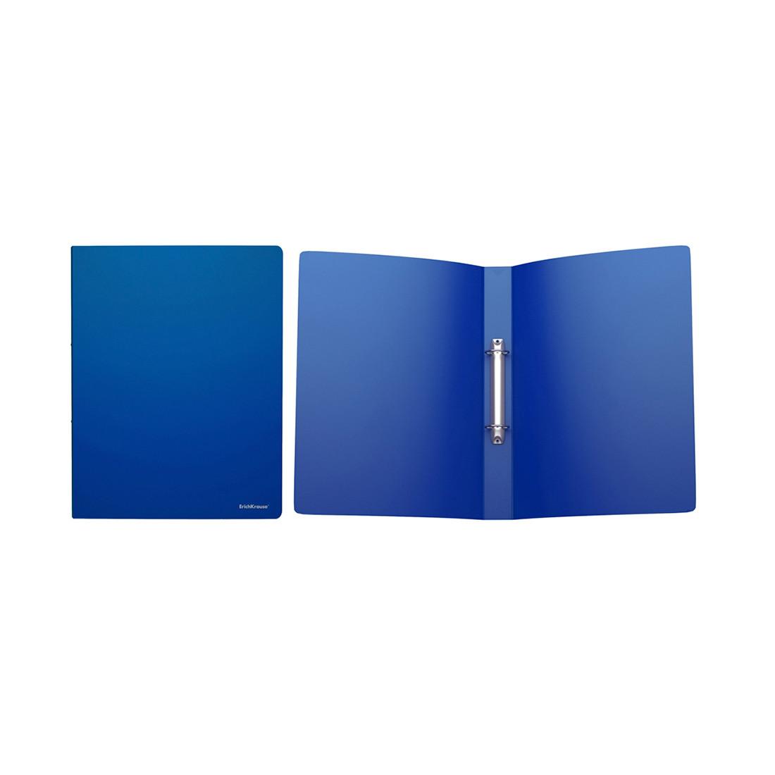 Папка на 2 кольцах пластиковая ErichKrause Classic (35мм, A4, Синий)