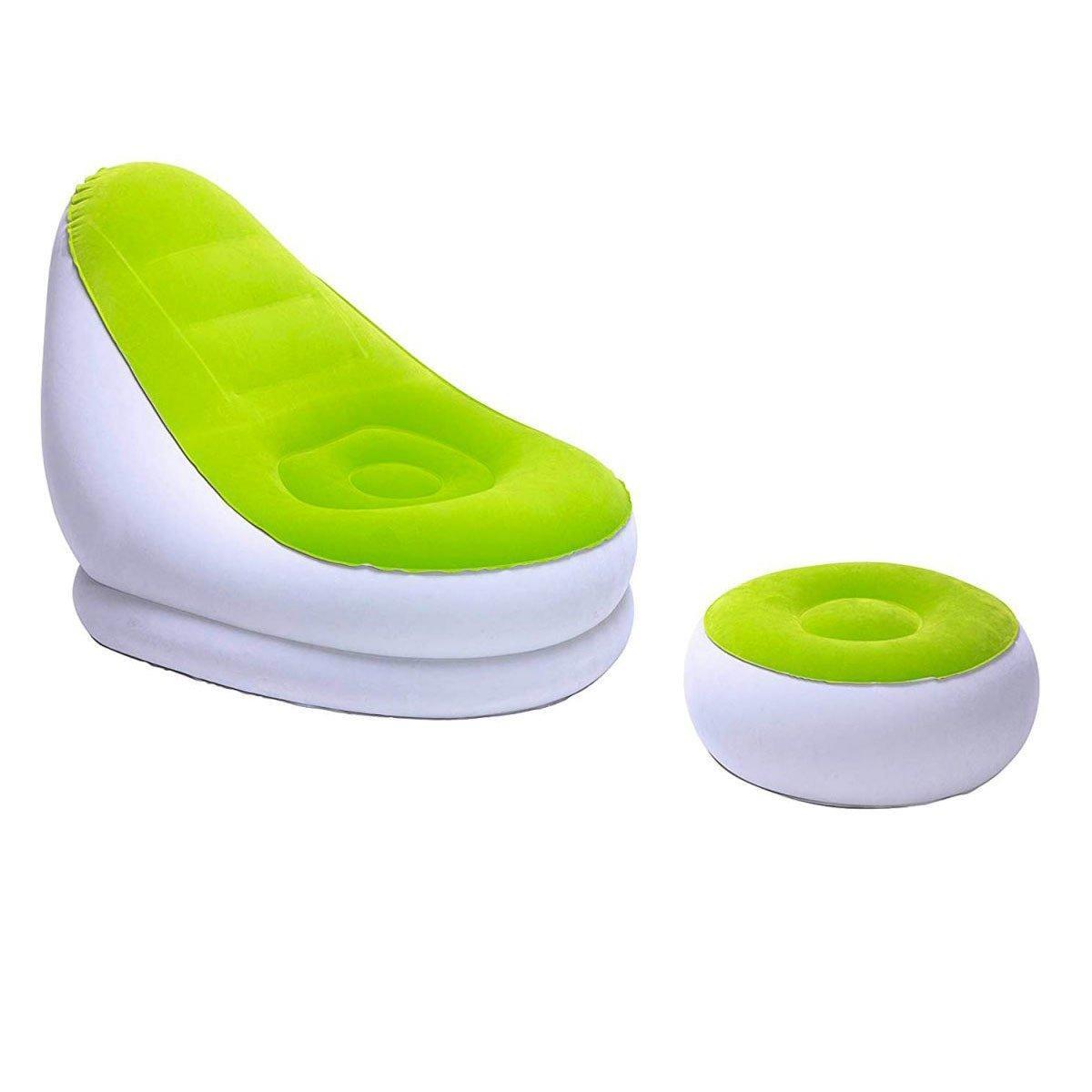 Надувное кресло Bestway 75053, 122 х 81 х 94 см, пуфик 54 х 26 см, зеленое