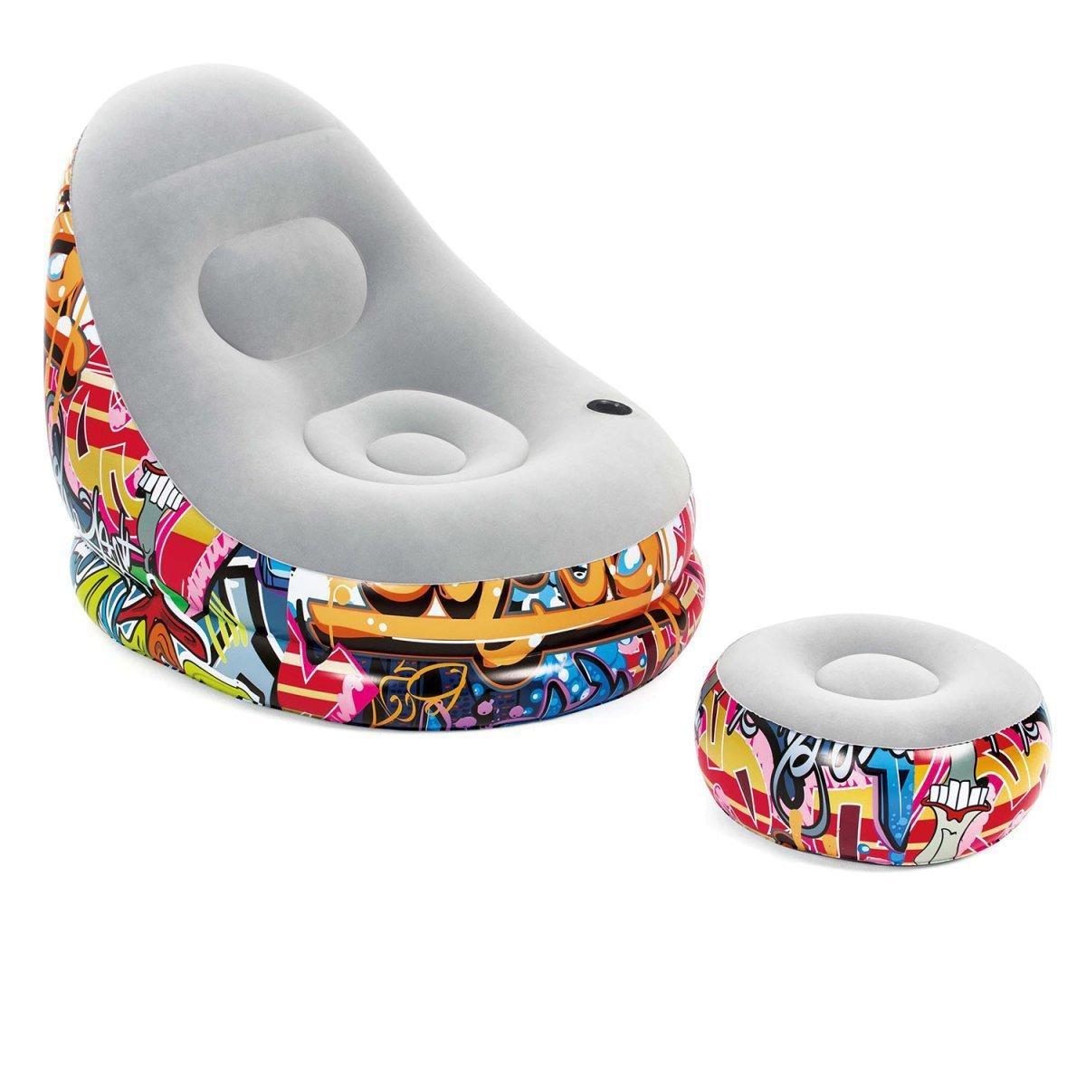 Надувное кресло Bestway 75076, 121 х 100 х 86 см, пуфик 54 х 26 см, белое