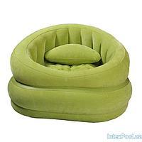 Архивный. Велюровое надувное кресло Intex 68563, зелёное