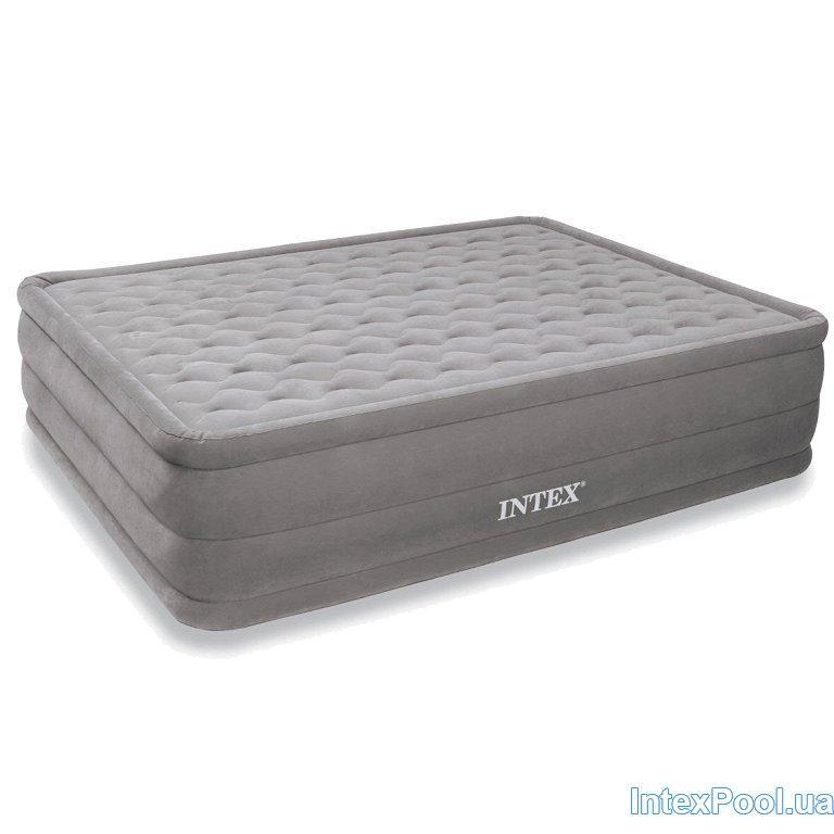 Архивный. Велюровая надувная кровать Intex 66958, бежевая,встроенный насос, 152 х 203 х 46 см