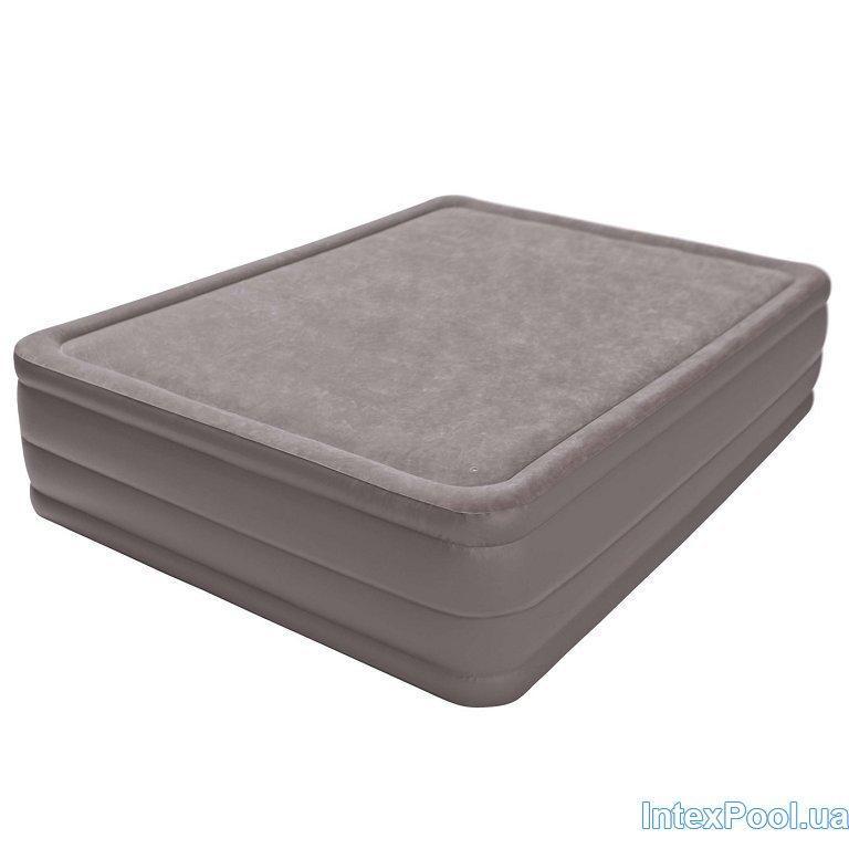 Архивный. Велюровая надувная кровать Intex 67954, бежевая, встроенный электронасос, 152 х 203 х 51 см