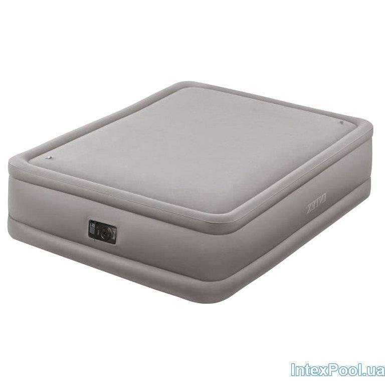 Архивный. Двухспальная велюровая надувная кровать Intex 64468, бежевая, встроенный электронасос, 152 х 203 х 51 см