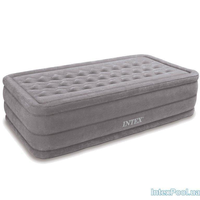 Архивный. Надувная флокированная кровать Intex 67952, бежевая, встроенный электронасос, 99 х 191 х 46 см