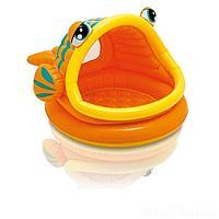 Детский надувной бассейн Intex 57109 Ленивая рыбка, 124 х 109 х 71 см, с навесом