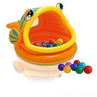 Детский надувной бассейн Intex 57109-1 Ленивая рыбка, 124 х 109 х 71 см, с навесом, с шариками 10 шт
