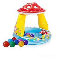 Детский надувной бассейн Intex 57114-1 Грибочек, 102 х 89 см, с шариками 10 шт