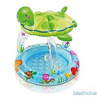 Детский надувной бассейн Intex 57119 Черепашка с навесом, 102 х 15 см