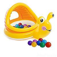 Детский надувной бассейн Intex 57124-1 Улитка ,145 х 102 х 74 см, с навесом, с шариками 10 шт