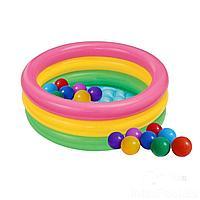 Детский надувной бассейн Intex 58924-1 Радуга, 86 х 25 см, с шариками 10 шт