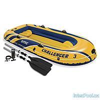 Трехместная надувная лодка Intex 68370 Challenger 3 Set,  295 х 137 х 43 см, с веслами и насосом