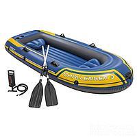 Трехместная надувная лодка Intex 68370 Challenger 3 Set, 295 х 137 х 43 см, с веслами и насосом, фото 1
