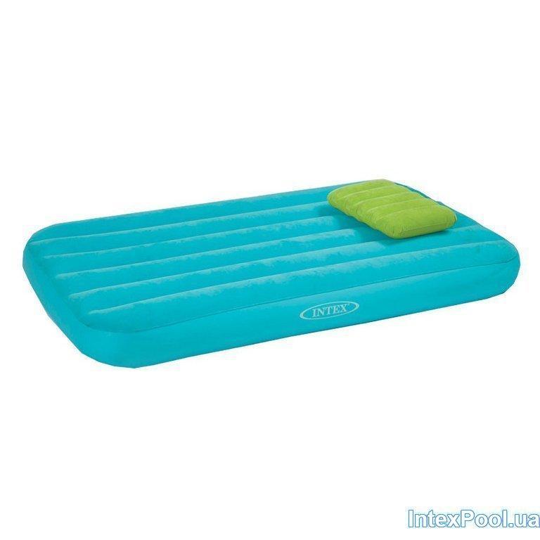 Надувной матрас односпальный с подушкой Intex 66801, голубой, для детей 88 х 157 х 18 см