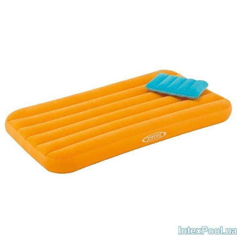Надувной матрас односпальный с подушкой Intex 66801, оранжевый, для детей 88 х 157 х 18 см