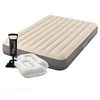 Надувной матрас Intex 64708-2, 137 х 191 х 25 см, с двумя подушками, насосом. Полуторный