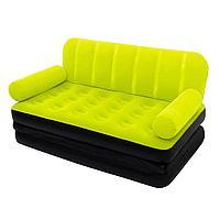 Надувной диван Bestway 67356, 188 х 152 х 64 см с электрическим насосом. Флокированный диван трансформер 2 в 1, зеленый