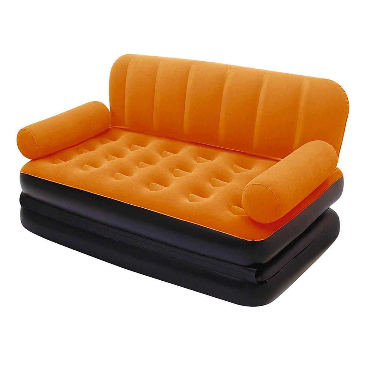 Надувной диван Bestway 67356, 188 х 152 х 64 см с электрическим насосом. Флокированный диван трансформер 2 в 1, оранжевый