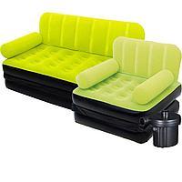 Надувной диван Bestway 67356-3, 188 х 152 х 64 см, с креслом и электрическим насосом. Флокированный диван трансформер 2 в 1, зеленый, фото 1