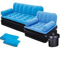 Надувной диван Bestway 67356-4, 188 х 152 х 64 см, с креслом, двумя подушками и электрическим насосом. Флокированный диван трансформер 2 в 1, голубой