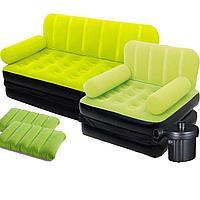 Надувной диван Bestway 67356-4, 188 х 152 х 64 см, с креслом, двумя подушками и электрическим насосом. Флокированный диван трансформер 2 в 1, зеленый