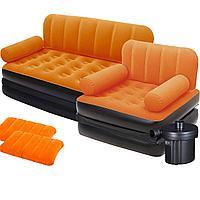 Надувной диван Bestway 67356-4, 188 х 152 х 64 см, с креслом, подушкой и электрическим насосом. Флокированный диван трансформер 2 в 1, оранжевый