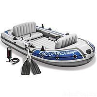 Четырехместная надувная лодка Intex 68324 Excursion 4 Set, 315 х 165 х 43 см, с веслами и насосом