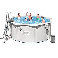 Каркасный бассейн Bestway 56563, 300 x 120 см (2 006 л/ч, скиммер, лестница, подстилка)