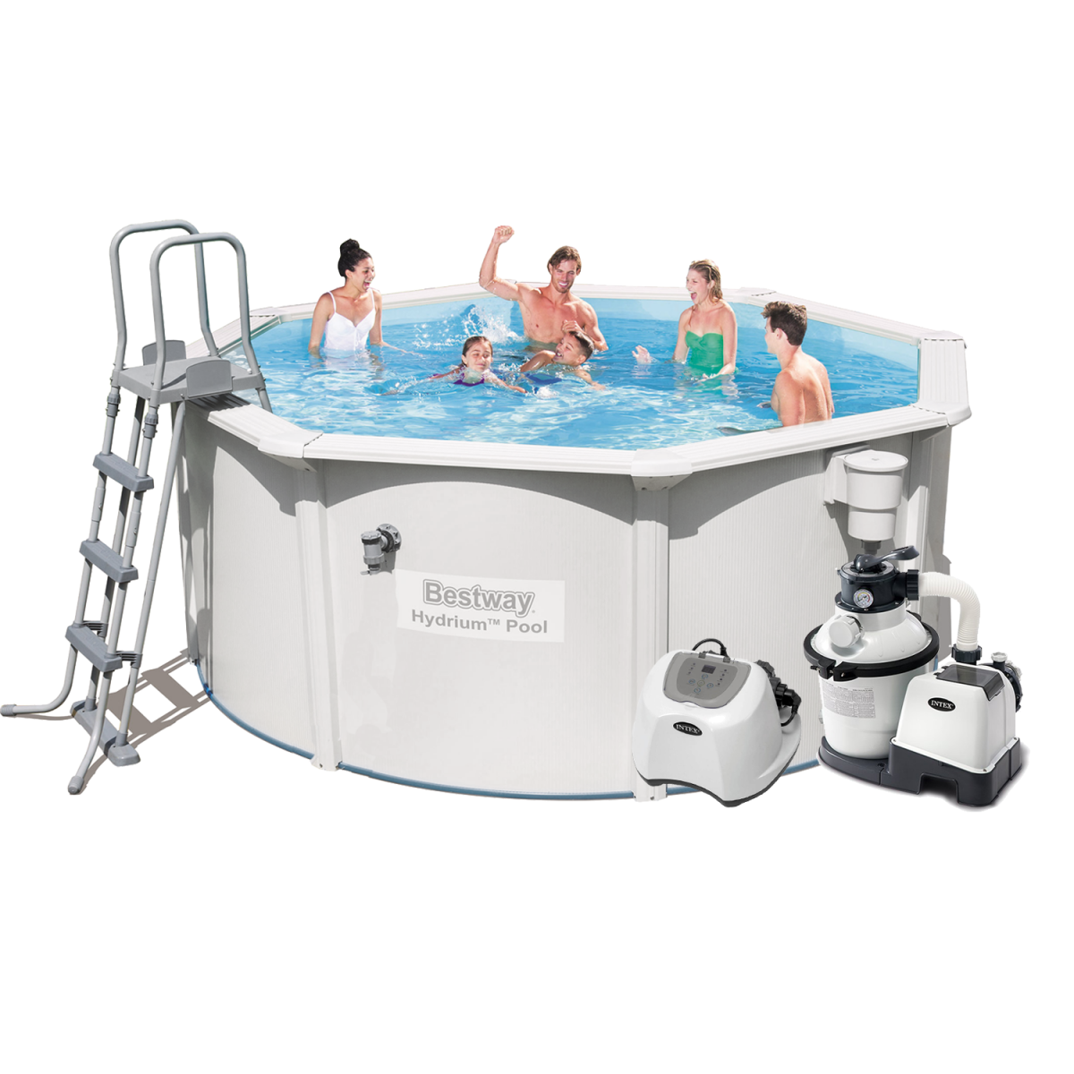 Каркасный бассейн Bestway 56563 - 10, 300 x 120 см (4 500 л/ч, 5 г/ч, скиммер, лестница, подстилка)