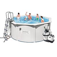 Каркасный бассейн Bestway 56563 - 6, 300 x 120 см (4 500 л/ч, скиммер, лестница, подстилка)